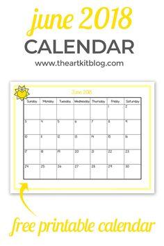 Free Printable – June 2018 Calendar – Great for Kids