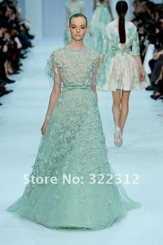 Appliques courts de douilles de Tulle d'A-line de couture d'Elie Saab Haute avec la robe lgante de bal d'tudiants de soire de longueur de plancher de Beadings