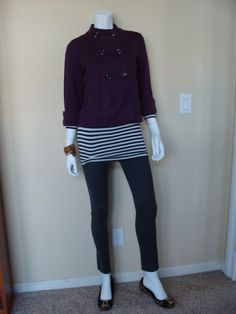 CAbi Haute Jegging, Deckhand Tee and cropped jacket in purple.  I forgot the name.  I love the leopard flats against the stripes.