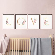 Love nursery wall art for baby girl Love Wall Art, Unique Wall Art, Wall Art Sets, Wall Art Decor, Baby Room Art, Baby Wall Art, Letter Wall Art, Gold Letters, Pink Watercolor