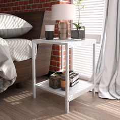 Lifewit 2-tier Modern Square Side End Table Night Stand Coffee Table White