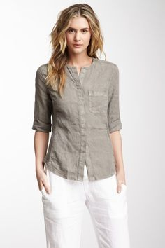 Contrast Panel Split Neck Shirt