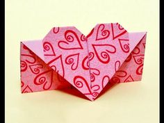 Easy Envelope with heart. Gift for Easter. DIY Valentine cards or envelopes. Easy to do origami envelope in the shape of heart. tutorial showing how to make Origami Heart Box Envelope with Secret Message Origami Ball, Diy Origami, Easy Origami Heart, Origami Paper Art, Useful Origami, Origami Tutorial, Paper Crafts, Origami Design, Diy Valentines Cards