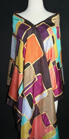 Brown, Terracotta, Aqua, Lavender Silk Wrap Hand Painted SO RETRO, Luxirious Big 22x90. Birthday Gift. Wedding Gift. Valentine Gift. Gift-Wrapped. Silk Scarves Colorado. Hand Dyed Scarf 100% silk. Made in USA. Ready to Ship Immediately - the perfect gift! This is a 100% silk