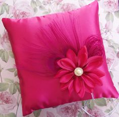 Wedding Ring Bearer Pillow, Fuchsia Hot Pink Peacock Feathers Pillow, Wedding Ceremony Pillows