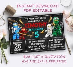 DIY Editable Ninjago Single Invitation Card Invitation Birthday