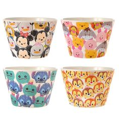 Disney Store Japan TSUM TSUM ❤ Bowl Set Mickey Minnie Pooh Piglet Eeyore Stitch