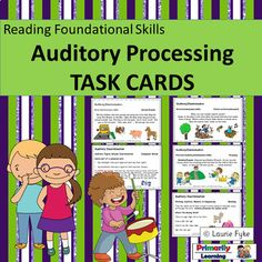 These Auditory Processing Task Cards include 30 activities to develop auditory: discrimination, figure ground, memory, and sequencing skills. Have fun playing games and doing activities while you work on developing, and reinforcing auditory processing skills needed for