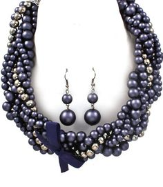 NECKLACE AND EARRING SET / PEARL / CHUNKY / METAL CASTING / INTERLACED / TEXTURE / 18 INCH LONG / NICKEL AND LEAD COMPLIANT /