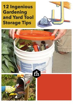 12 Ingenious Gardening and Yard Tool Storage Tips Yard Tools, Tool Storage, Organization Hacks, Things To Come, Gardening, Tips, Lawn And Garden, Horticulture, Shed
