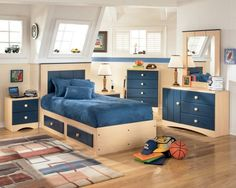 Kids Bedroom Ideas Storage Beds Blue Color Scheme