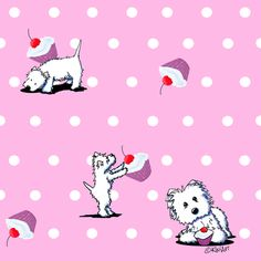 Cupcake Westies On Pink fabric by kiniart on Spoonflower - custom fabric