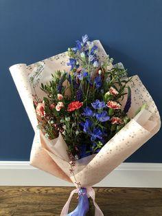 Blue Flowers Bouquet, Blue Delphinium