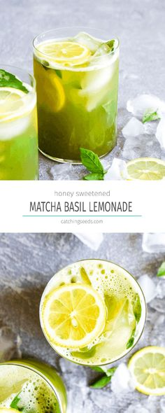 10 minute Matcha Basil Lemonade is a refreshing summer drink sweetened with honey! This healthy beverage is paleo and full of antioxidants. #matchatea #matchalemonade #matcharecipe #healthylemonade #paleorecipe   DarnGoodVeggies.com Strawberry Basil Lemonade, Healthy Lemonade, Flavored Lemonade, Homemade Lemonade Recipes, Healthy Drinks, Healthy Recipes, Matcha Lemonade Recipe, Healthy Detox, Summertime Drinks