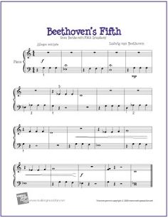 Beethoven's Fifth | Easy Digital Print Piano Sheet Music - http://makingmusicfun.net/htm/f_printit_free_printable_sheet_music/beethoven-fifth-easy-piano.htm