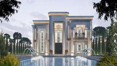 Classic Architecture, Facade Architecture, Swimming Pool Architecture, Dubai Houses, House Outside Design, Classic House Design, Basement House Plans, Villa Design, Facade House