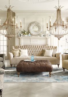 Fiona Upholstered Tufted Sofa in Xanadu French Vanilla Shabby Chic Furniture, Living Room Furniture, Living Room Decor, Living Spaces, Living Rooms, Condo Furniture, Upholstered Sofa, French Decor, French Interior