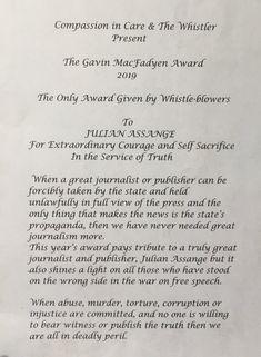 2019 Sep Gavin MacFadyen Award presented outside Belmarsh prison to Julian's father John Shipton Father John, Whistler, Compassion, Prison, The Outsiders, Awards, Presents, Gifts, Favors