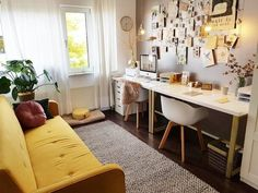 banking arquitecture Chou Click Clack Sofa Bed, Butter Yellow - Home office inspo and Made yellow sofa bed - Sofa Bed Office, Bedroom Office Combo, Spare Room Office, Bed Sofa, Office With Sofa, Home Office Layouts, Home Office Space, Home Office Design, Home Office Decor