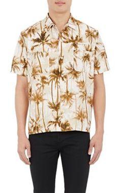 SAINT LAURENT Palm-Tree-Print Short-Sleeve Shirt. #saintlaurent #cloth #shirt