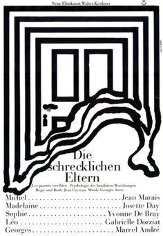 Hans Hillmann, poster for Die schrecklichen Eltern (Les parents terribles), 1964 Line Study, Parents, Poster Layout, Graphic Design Posters, Typography Poster, Poster Making, Film Posters, Line Art, Web Design