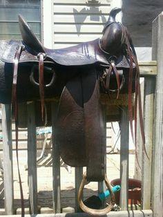 Antique 1880s Antique Sam Stagg Rigged High Back Saddle