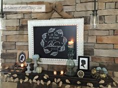 Fall mantel with stenciled sign