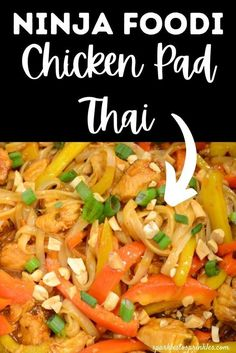 Make a delicious chicken Pad Thai with your Ninja Foodi and this easy recipe from Sparkles to Sprinkles. This dish is a healthy and quick option to whip up on weekdays, and it is loaded with flavor. With chicken, vegetables, rice noodles, and Pad Thai sauce, this meal has it all! Best Chicken Recipes, Asian Recipes, Healthy Recipes, Ethnic Recipes, Pad Thai Noodles, Rice Noodles, Dump Meals, One Pot Meals, Pad Thai Sauce