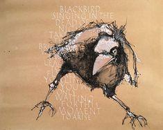 Ute Kreuzer BUCHSTABENLUST - black & bird