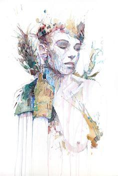 """Stray Pleasures"", Ink Tea and Alcohol - Carne Griffiths Tea Illustration, Affordable Art Fair, Abstract Portrait, 2d Art, Figurative Art, Artist At Work, Love Art, Carne, Contemporary Art"