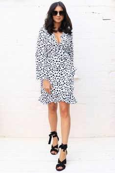 0b6b993ee7d1 Long Sleeve Frill Edge Fixed Wrap Dress in Dalmatian Print – One Nation  Clothing Dalmatian,
