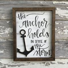 Cool the anchor holds in spite of the storm // distressed wood sign // rustic home decor  The post  the anchor holds in spite of the storm // distressed wood sign // rustic home de…  appeare ..