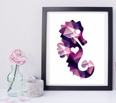 Polygon Purple Seahorse High Resolution Instant Download Low Poly Triangle by StudioGlindda on Etsy