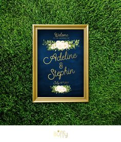 $20 on ETSY | The JAYLA . Welcome Wedding Ceremony Sign . Navy Blue & Gold Calligraphy . Fern Dahlia White Rose Garland Green leaves . Large Printed Sign by BuffyWeddings on Etsy