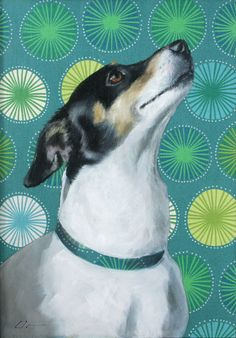 Jack Russell Terrier Dog Funky Aqua and by ClairHartmannFineArt