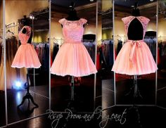 100SH021167-LIGHT PINK... This must be the Cutest Short Dress Ever with its Lace Cap Sleeves and Low Back! STUNNING and ONLY at Rsvp Prom and Pageant... http://rsvppromandpageant.net/collections/short-dresses/products/100sh021167-light-pink