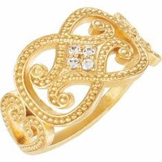 14ky gold and diamond granulated ring.