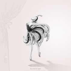"""An exercise in style"" by Van Cleef & Arpels - Dance. Black Swan clip, 2013 - white gold, black spinels, onyx and diamonds."