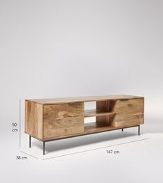 Avallon Media Unit In Mango Wood & Charcoal