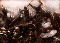 Carga celta sobre posiciones romanas. La lámina nos muestra el embate de la caballería celta sobre la vanguardia romana. Más en www.elgrancapitan.org/foro