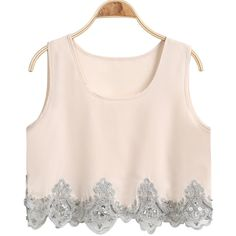 Sleeveless Embroidered Apricot Chiffon Tank Top (41 SAR) ❤ liked on Polyvore
