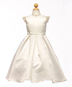 Look at this #zulilyfind! Ivory Pearl Satin Angel-Sleeve Dress - Toddler & Girls by Petite Adele #zulilyfinds