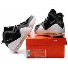 http://www.asneakers4u.com/ Nike Air Penny 5 Penny Hardaway Shoes Black/White/Yellow