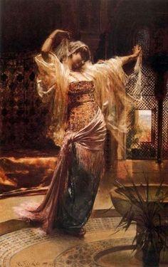 Edouard  Frederic Wilhelm Richter  (1844-1913) - Oriental Dancer. Oil on Canvas. Circa 1870-1880.