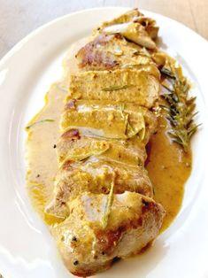 This Creamy Mustard Pork Tenderloin recipe is a lot like Pork Diablo Tenderloin, diablo in Spanish means the Rosemary Pork Tenderloin, Turkey Tenderloin Recipes, Mustard Pork Tenderloin, Cooking Pork Tenderloin, Pork Loin, Cooking Tofu, Cooking Bacon, Cooking Black Beans, Cooking Wine