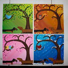 Dachshund 4 Season Set Canvas Paintings Spring by MaxMinnieandMe, $80.00