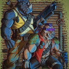 Bebop and Rocksteady Nija Turtles, Ninja Turtles Art, Teenage Mutant Ninja Turtles, Martial, Rhino Tattoo, Renaissance, Bebop And Rocksteady, Batman Artwork, 80s Tv