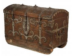 "17th century German oak dome-top chest with ornate forged ironwork, dated in the iron ""Anno 1691"".  30 X 42 X 22"""