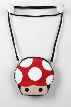 Mushroom Character Bag - this would make the perfect gift for my bff. she loves video games! Unique Handbags, Unique Bags, Tote Handbags, Purses And Handbags, Zooey Deschanel, Unique Backpacks, Creative Bag, Novelty Bags, Cute Purses