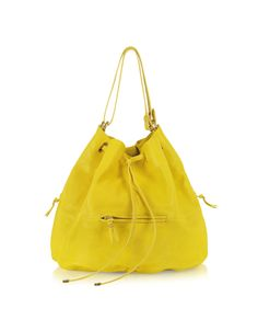 Jerome Dreyfuss Alain Yellow Leather Shoulder Bag crafted in supple lambskin leather, is a versatile bag with soft lines.